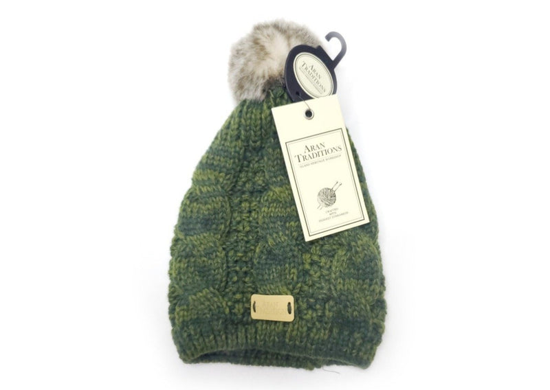 aran traditions cable knitted green beanie with pom