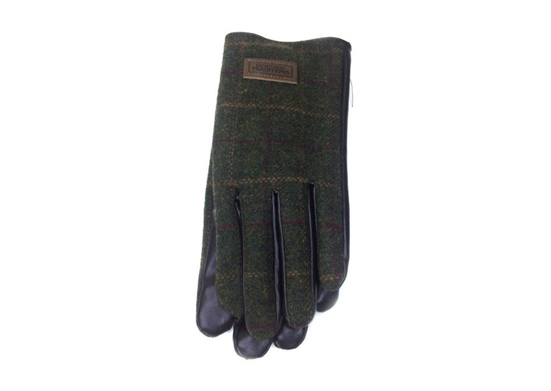 Heritage Traditions Mens Green Tweed Gloves