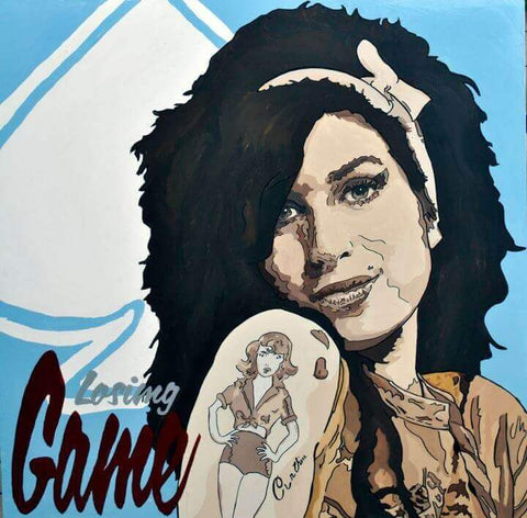 amy winehouse, portrait, pop art, paintings for sale, home decor, gianluca resi,