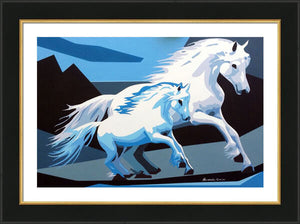 WHITE HORSES ORIGINAL ACRYLIC ON CANVAS FILLY PAINTING SIGNED PORTRAIT - Arterama's