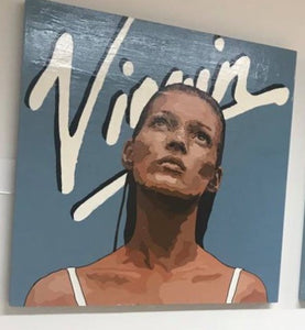 KATE MOSS ORIGINAL SIGNED PORTRAIT PAINTING POP ART VIRGIN FACE SEXY - Arterama's