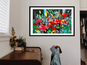 IKEBANA ORIGINAL VIVID COLORS PAINTING SIGNED BY PIERNICOLA MUSOLINO - Arterama's
