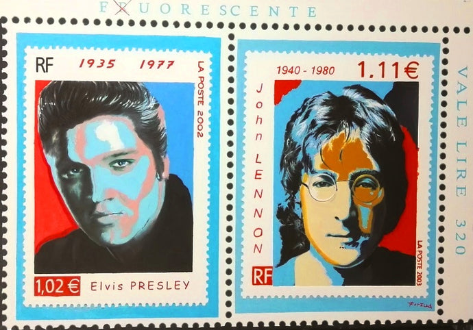 Elvis Presley John Lennon Portrait Oil on Canvas