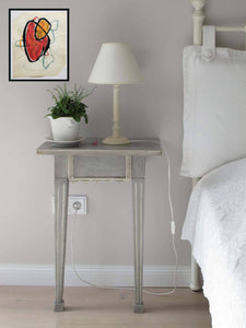 RED HEART ORIGINAL ABSTRACT SIGNED WATERCOLOR PAINTING ART NIGHTSTAND - Arterama's