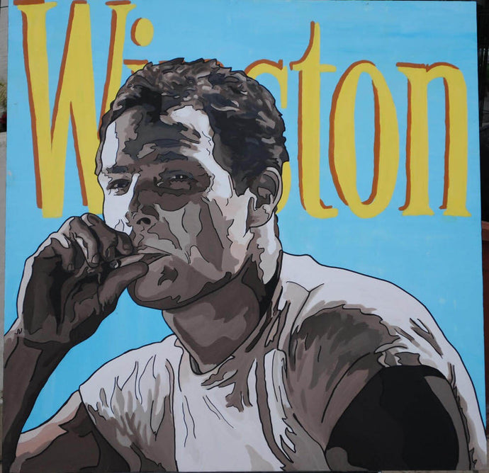 MARLON BRANDO ORIGINAL PORTRAIT POP ART PAINTING SIGNED VINTAGE LEGEND - Arterama's