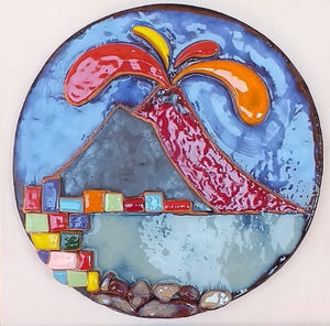 Beautiful Hand Painted Ceramic Plate with Vesuvio - Arterama's