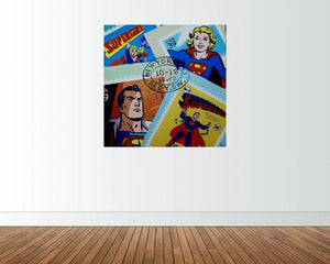SUPERHEROES MODERN ORIGINAL OIL PAINTING CANVAS SIGNED SUPERMAN SUPERGIRL HEROES - Arterama's