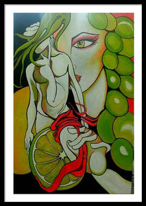 THE GRAPES MYTHOLOGY ORIGINAL PAINTING SIGNED FERTILITY PROSPERITY WOMAN - Arterama's
