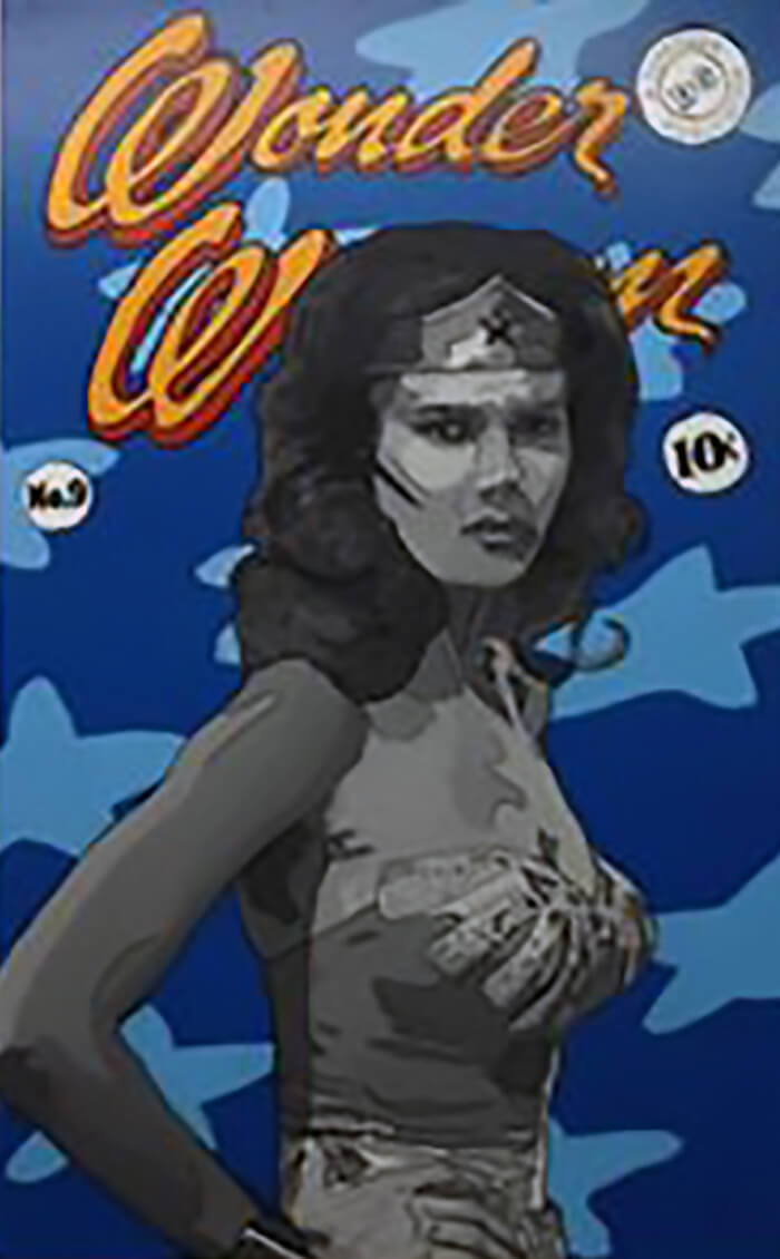 WONDER WOMAN ORIGINAL SIGNED PORTRAIT PAINTING POP ART COMICS SEX SYMBOL - Arterama's