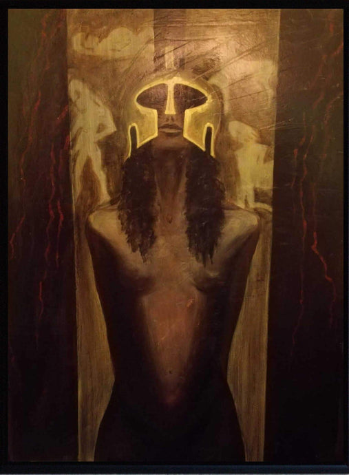 ORIGINAL ATHENA GODDESS FIGURATIVE PORTRAIT OIL PAINTING CANVAS SIGNED - Arterama's
