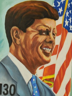 6f5174edb52c ... Load image into Gallery viewer, PRESIDENT KENNEDY POPE JOHN ORIGINAL  PORTRAIT OIL PAINTING CANVAS SIGNED ...