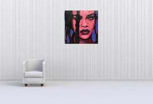 RIHANNA ORIGINAL MUSIC POPSTAR PORTRAIT ORIGINAL POP ART SIGNED - Arterama's