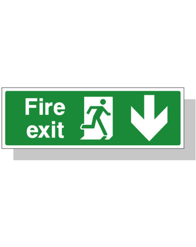 Fire Exit Sign - Down Direction