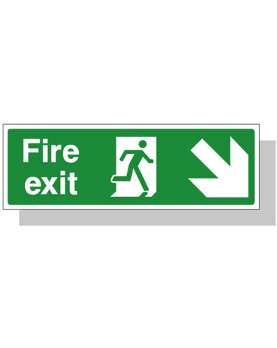 Fire Exit Sign - Down Right Direction