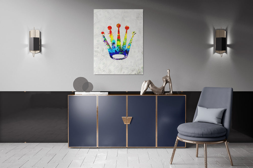 MONEY CROWN : CanvasMafia Inspirational Canvas Wall Art for Office and Home Decor