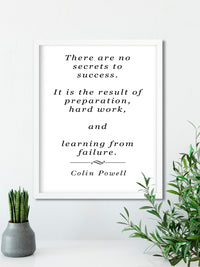 COLIN POWELL | No Secrets to Success - FRAMED Inspirational Wall Art, Framed Inspirational Print Art, Dorm Decor, Office Wall Art