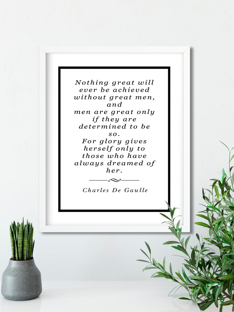 Charles De Gaulle | Great Men - FRAMED Inspirational Wall Art, Framed Inspirational Print Art, Dorm Decor, Office Wall Art