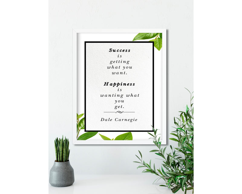 Dale Carnegie | Happiness - FRAMED Inspirational Wall Art, Framed Inspirational Print Art, Dorm Decor, Office Wall Art, Office Decor