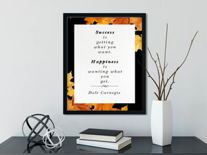 Dale Carnegie - Happiness (Autumn, Black) | FRAMED Inspirational Wall Art, Framed Inspirational Print Art, Dorm Decor, Office Wall Art