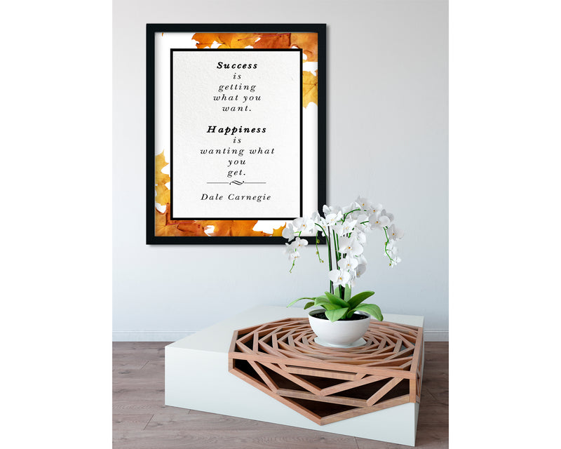 Dale Carnegie | Happiness (Autumn) - FRAMED Inspirational Wall Art, Framed Inspirational Print Art, Dorm Decor, Office Wall Art
