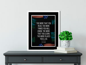 Dr. Seuss | The Places You'll Go (Black) - FRAMED Inspirational Wall Art, Framed Inspirational Print Art, Dorm Decor, Office Wall Art