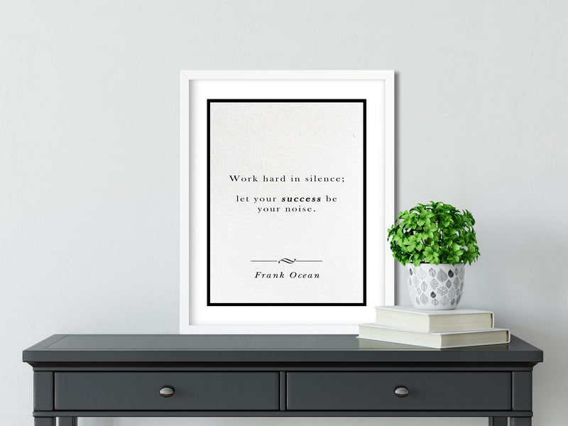 Frank Ocean | Let Success be Your Noise - FRAMED Inspirational Wall Art, Framed Inspirational Print Art, Dorm Decor, Office Wall Art