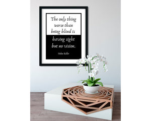 HELEN KELLER | Sight - FRAMED Inspirational Wall Art, Framed Inspirational Print Art, Dorm Decor, Office Wall Art, Office Decor