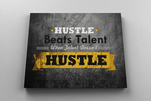 HUSTLE BEATS TALENT: CanvasMafia Inspirational Canvas Wall Art for Office and Home Decor