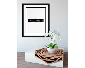 Im-Possible (Black) - FRAMED Inspirational Wall Art, Framed Inspirational Print Art, Dorm Decor, Office Wall Art, Office Decor