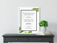 Jim Rohn | Self Education - FRAMED Inspirational Wall Art, Framed Inspirational Print Art, Dorm Decor, Office Wall Art, Office Decor