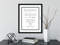 John Lennon | Happy - FRAMED Inspirational Wall Art, Framed Inspirational Print Art, Dorm Decor, Office Wall Art