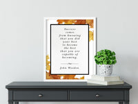 John Wooden | Become the Best (Autumn) - FRAMED Inspirational Wall Art, Framed Inspirational Print Art, Dorm Decor, Office Wall Art