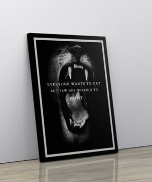 LION - THE HUNT: CanvasMafia Inspirational Canvas Wall Art for Office and Home Decor