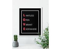 LOVE (Black) - FRAMED Inspirational Wall Art, Framed Inspirational Print Art, Dorm Decor, Office Wall Art, Office Decor