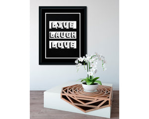 Live, Laugh, Love (Black) - FRAMED Inspirational Wall Art, Framed Inspirational Print Art, Dorm Decor, Office Wall Art, Office Decor