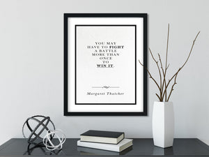 Margaret Thatcher | Fight More than Once - FRAMED Inspirational Wall Art, Framed Inspirational Print Art, Dorm Decor, Office Wall Art