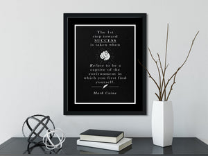 Mark Caine | The 1st Step (BLACK) - FRAMED Inspirational Wall Art, Framed Inspirational Print Art, Dorm Decor, Office Wall Art, Office Decor