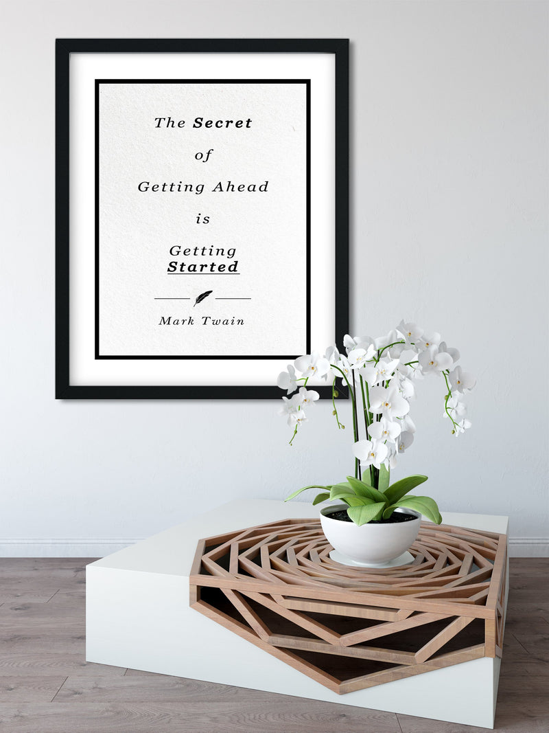 Mark Twain | The Secret - FRAMED Inspirational Wall Art, Framed Inspirational Print Art, Dorm Decor