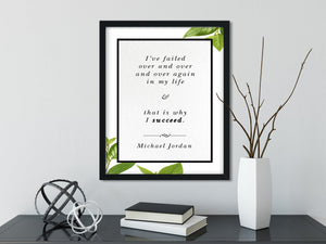 Michael Jordan | I've Failed Over and Over Again - FRAMED Inspirational Wall Art, Framed Inspirational Print Art, Dorm Decor, Office Art