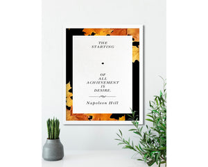 Napoleon Hill | The Starting Point, (Autumn, Black) - FRAMED Inspirational Wall Art, Framed Inspirational Print Art, Dorm Decor