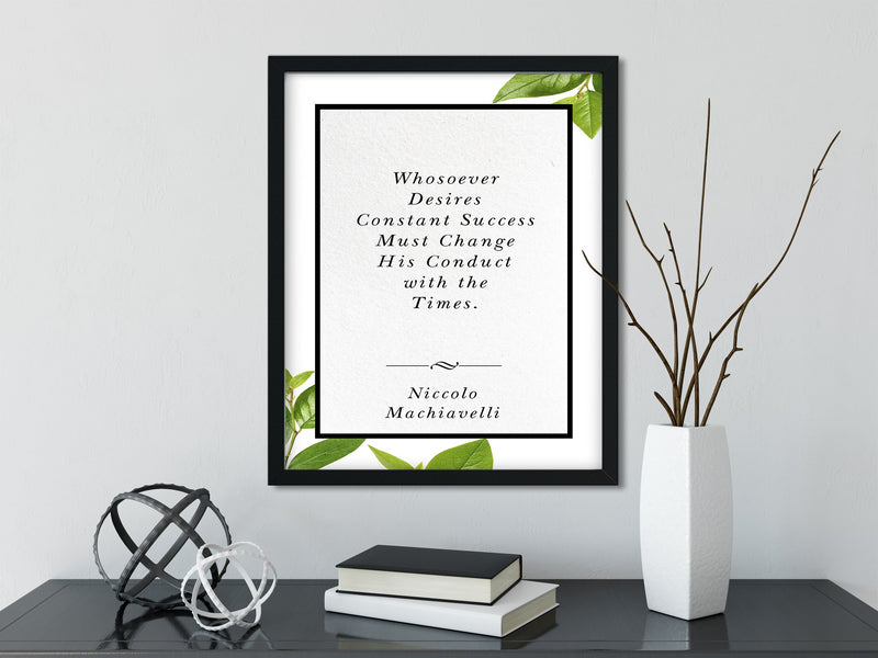 Niccolo Machiavelli | Whosoever Desires - FRAMED Inspirational Wall Art, Framed Inspirational Print Art, Dorm Decor, Office Wall Art