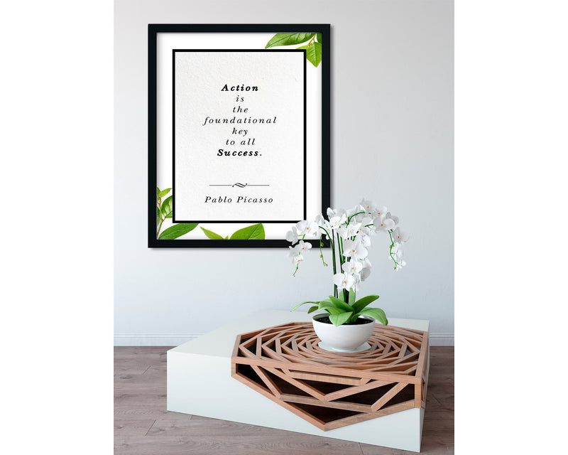 Pablo Picasso | Foundational Key to All Success - FRAMED Inspirational Wall Art, Framed Inspirational Print Art, Dorm Decor, Office Wall Art
