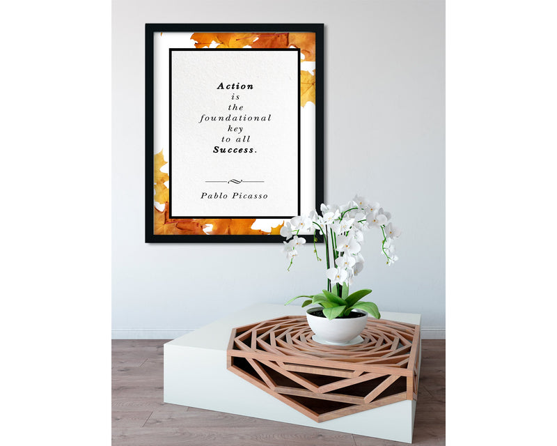 Pablo Picasso | Foundational Key to All Success (Autumn) - FRAMED Inspirational Wall Art, Framed Inspirational Print Art, Dorm Decor