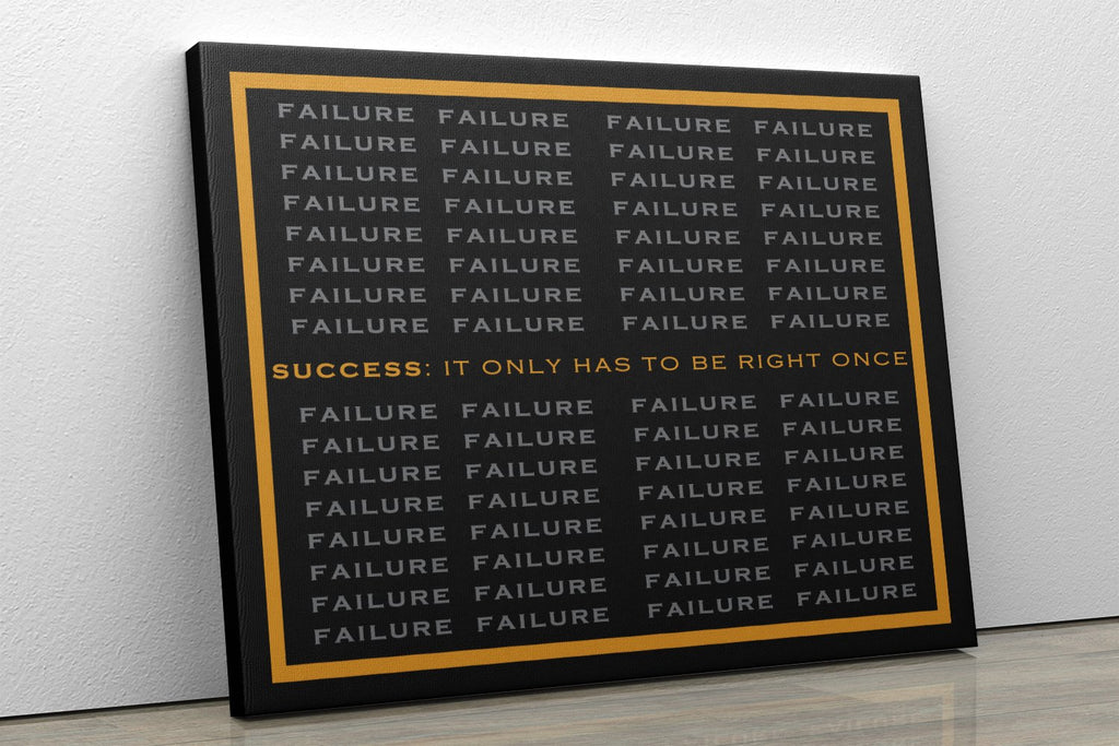 SUCCESS IT ONLY HAS TO BE RIGHT ONCE: CanvasMafia Inspirational Canvas Wall Art for Office and Home Decor