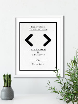 Steve Jobs | Leader and a Follower - FRAMED Inspirational Wall Art, Framed Inspirational Print Art, Dorm Decor