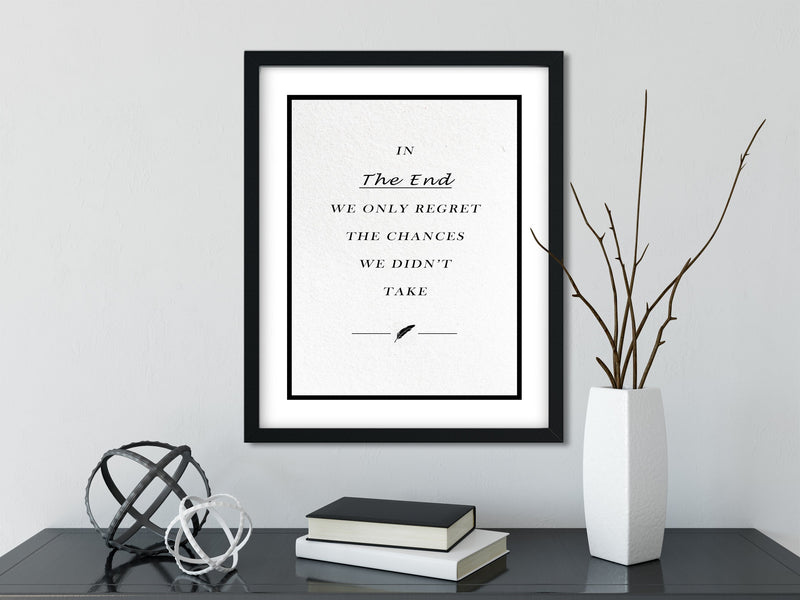 The Chances We Didn't Take - FRAMED Inspirational Wall Art, Framed Inspirational Print Art, Dorm Decor, Office Wall Art, Office Decor