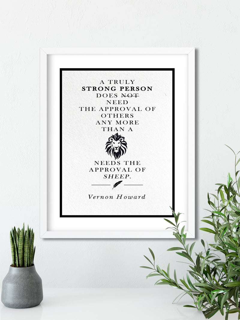 Vernon Howard | Lions and Sheep - FRAMED Inspirational Wall Art, Framed Inspirational Print Art, Dorm Decor, Office Wall Art, Office Decor