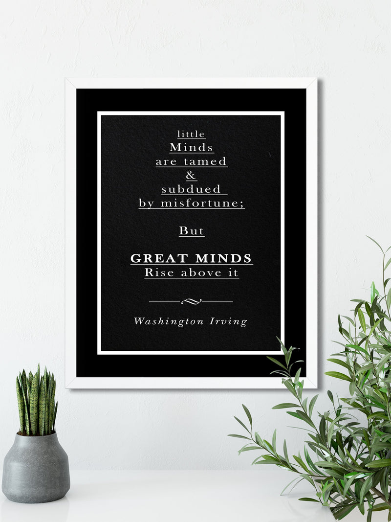 Washington Irving | RISE ABOVE It (Black) - FRAMED Inspirational Wall Art, Framed Inspirational Print Art, Dorm Decor, Office Wall Art
