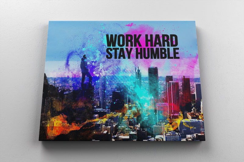 WORK HARD, STAY HUMBLE: CanvasMafia Inspirational Canvas Wall Art for Office and Home Decor