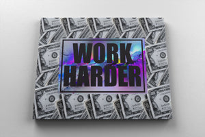 WORK HARDER: CanvasMafia Inspirational Canvas Wall Art for Office and Home Decor